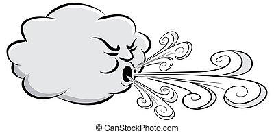 ventoso, vento, soprando, dia, nuvem