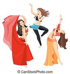 ventre, arrière-plan., isolé, blanc, filles, ensemble, danseurs