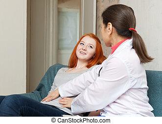 ventre, toucher, adolescent, docteur mûr