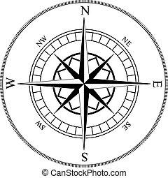 vents, rose, compas