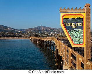 Ventura, California pier with a sky blue background