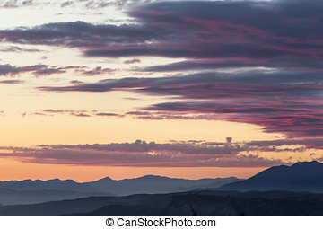 Ventura County California - Mountain Ranges with sunset sky...