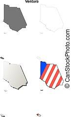 Ventura County, California outline map set - Ventura County,...