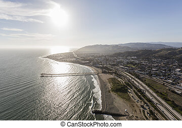 Ventura County Coast in Southern California - Aerial view of...