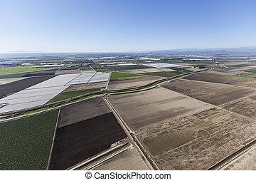 Ventura County Farms near Oxnard California - Aerial view of...