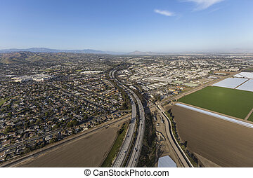 Ventura County Freeway Aerial Freeway - Aerial view of the...
