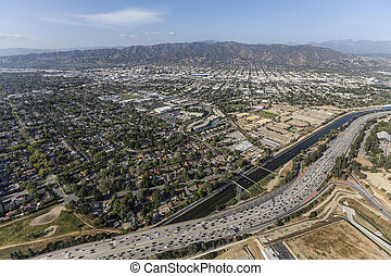 Ventura Freeway and Los Angeles River in Burbank