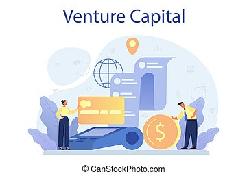 Venture capital concept. Investors financing startup companies and small business. Idea of financial support. Isolated flat illustration
