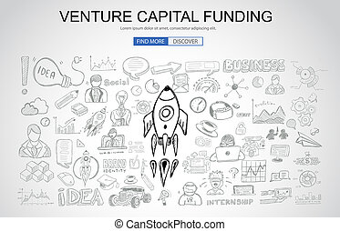 Venture Capital Funding concept with Business Doodle design...