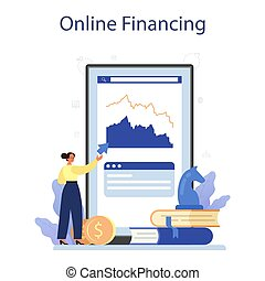Venture capital online service or platform. Investors financing startup companies and small business. Online financing. Isolated flat illustration