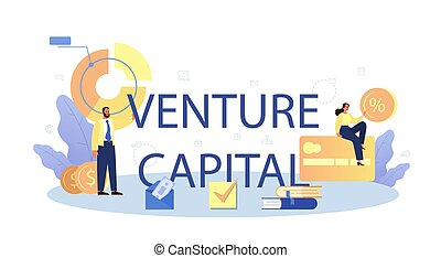 Venture capital typographic header. Investors financing startup companies and small business. Idea of financial support. Isolated flat illustration