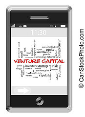 Venture Capital Word Cloud Concept on Touchscreen Phone