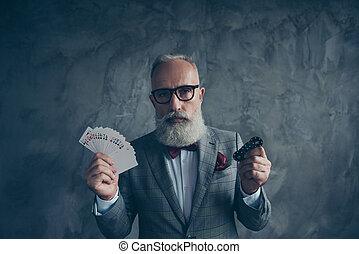 Venturesome, gambling, thoughtful, sad, brutal, old millionaire
