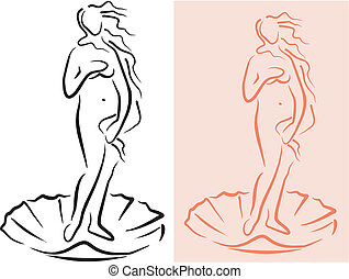 venus - goddes - silhouette of a naked aphrodite on a shell...