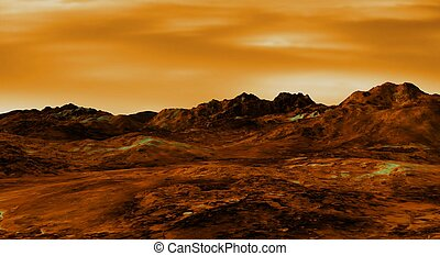 venus landscape - Illustration of a Venus landscape
