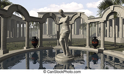 Venus of Milo and an ancient Greek temple - An 3D rendered ...