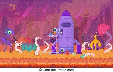 Venus Space Pixel Game Location, Alien or Spaceman