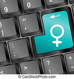 Venus symbol in blue on white computer key
