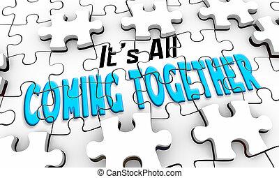 venuta, fuoco, puzzle, illustrazione, relativo, soluzione, insieme, tutto, vista, 3d