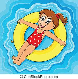 verão, água, atividade, tema, 2