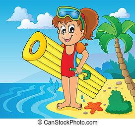verão, água, atividade, tema, 6