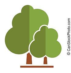 verão, árvore, ícone