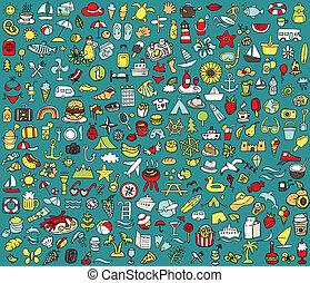 verão, ícones, grande, cobrança, feriados, doodled