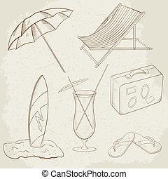 verão, ícones, mão, vetorial, desenhado, feriado