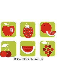 verão, ícones, saudável, fruta, experiência verde