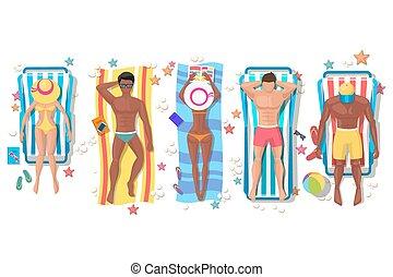 verão, ícones, sol, pessoas, lounger, praia