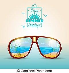 verão, óculos de sol, cartaz