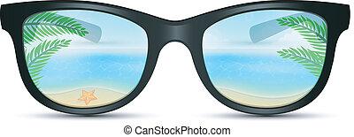 verão, óculos de sol, com, praia, reflexão
