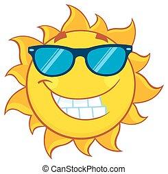 verão, óculos de sol, sol