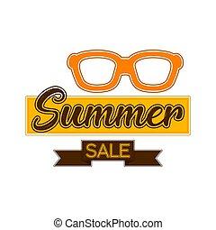 verão, óculos de sol, venda, etiqueta