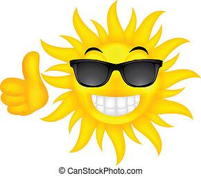 verão, óculos, feliz, sol