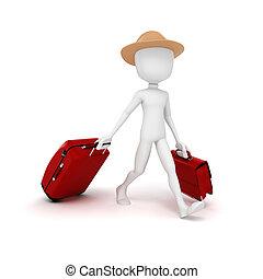 verão, 3d, turista, férias, homem