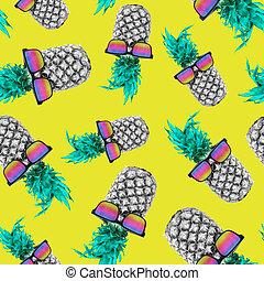 verão, abacaxi, com, óculos de sol, seamless, padrão