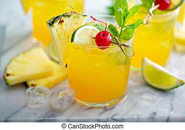 verão, abacaxi, refrescar, coquetel, rum