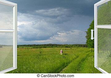 verão, aberta, trovão, campo, Janela, antes de