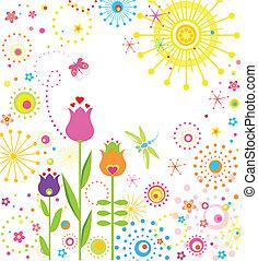 verão, abstratos, cartão