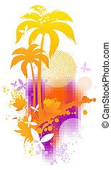 verão, abstratos, ilustração