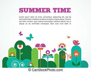 verão, abstratos, jardim, tempo