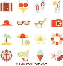 verão, accessorize, apartamento, cor, férias, ilustração, símbolos, recurso, vetorial, desenho, modelo, praia, ícone
