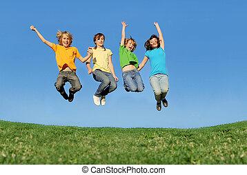 verão, ajustar, saudável, pular, ao ar livre, crianças