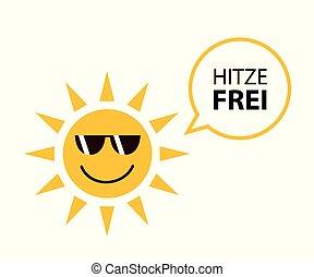 verão, alemão, sol, livre, sungasses, calor, texto, feliz