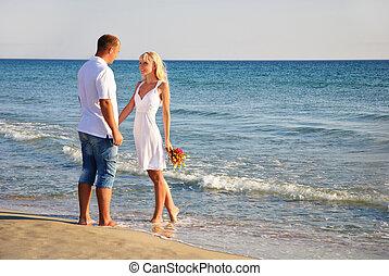 verão, andar, par,  bouque, mar, praia, amando