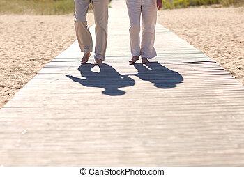 verão, andar, par, cima fim, sênior, praia