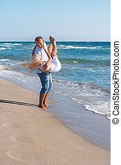 verão, andar, par, mar, praia, amando