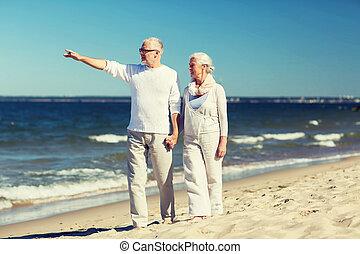 verão, andar, par, sênior, praia, feliz