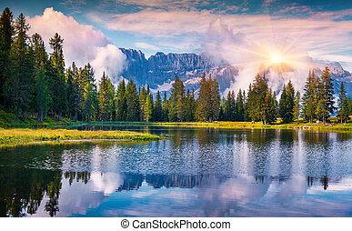 verão, antorno, lago, amanhecer colorido